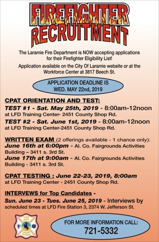 Firefighter Recruitment, The Laramie Fire Department, Laramie, WY