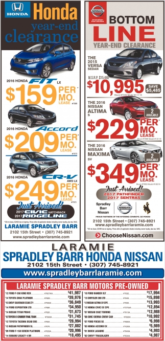 Honda Year-end clearance and Nissan Bottom Line Year-End Clearance