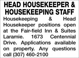 Head Housekeeper & Housekeeping Staff