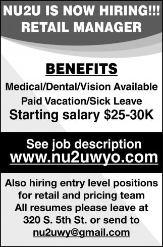 Retail Manager, NU2U, Laramie, WY