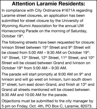 Attention Laramie Residents