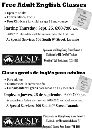 Free Adult English Classes