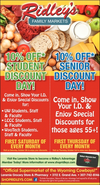 10% OFF Student and Senior Discount Day