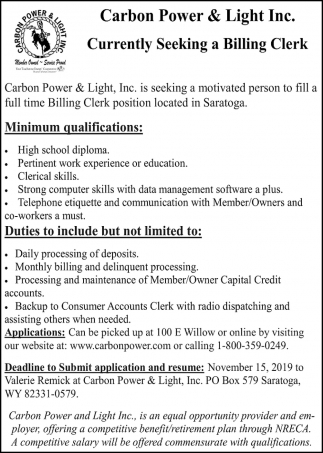 Full Time Billing Clerk Position