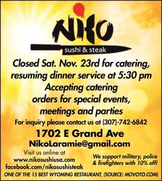 Closed Sat. Nov. 23rd for Catering