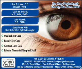 Eye Care Professionals Serving You Since 1966!