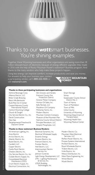 Thanks to our wattsmart business. You're shining examples.