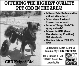 Offering the Highest Quality Pet CBD in the Area!
