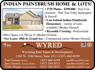 Indian Paintbrush Home and Lots!
