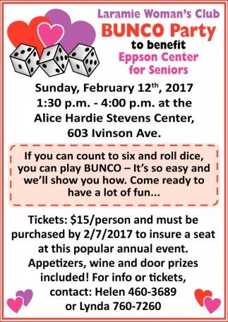 Bunco Party To Benefit Eppson Center for Senior